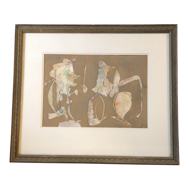 Original Mid Century Abstract Keith Martin Pastel Drawing For Sale