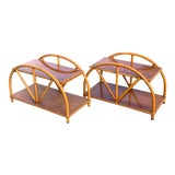 Image of Boho Chic Curved Rattan Vintage 2 Tier End Tables - a Pair For Sale