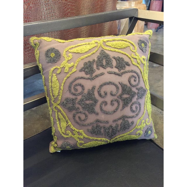 This is a vintage pillow from the 1940s. The piece features taupe cotton fabric that's embellished with charcoal and...
