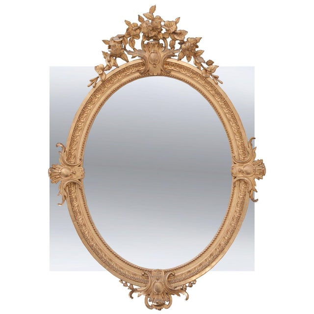 French French 19th Century Oval Gold Gilt Mirror For Sale - Image 3 of 10