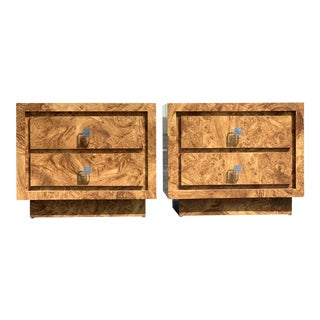 1970s Milo Baughman Style Burl Nightstands-a Pair For Sale
