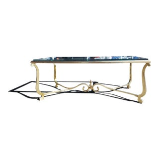 1960s A French Neoclassical Hollywood Regency Brass Coffee Table For Sale