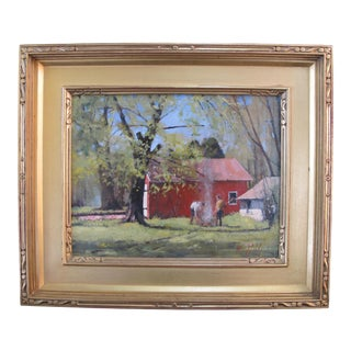 Paul Rafferty Ny Gilt Framed Oil Painting Behind the Whaling Museum For Sale