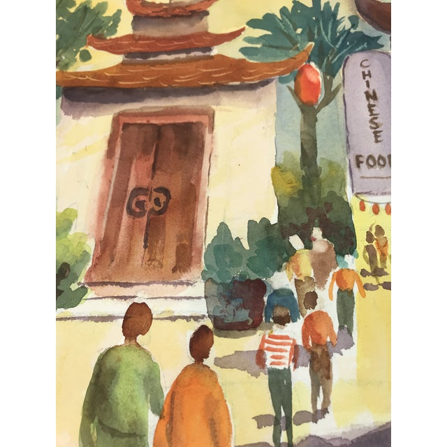 Contemporary Original Unframed Watercolor Chinatown Scene Painting For Sale - Image 3 of 5