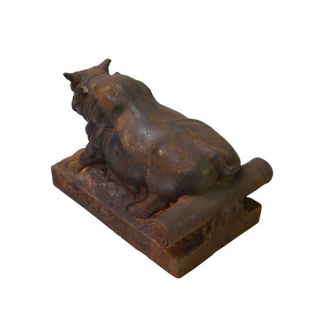 Chinese Vintage Rustic Iron Handmade Muscular Zodiac Cow Statue For Sale - Image 4 of 5
