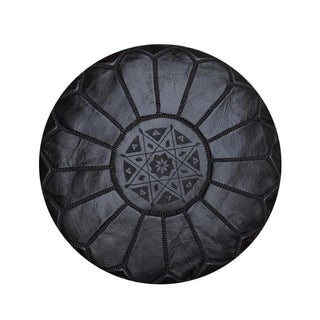 Black Leather Moroccan Pouf, Ottoman, Footstool For Sale