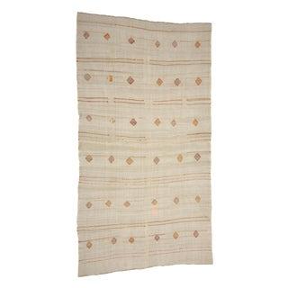 Embroidered Vintage Hemp Kilim Rug- 6′7″ × 12′4″ For Sale