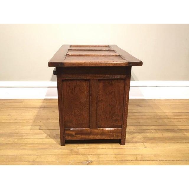 English 1960s Vintage Carved Oak Coffer For Sale - Image 3 of 10