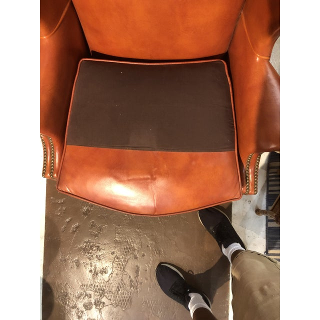 Vintage Georgian Style Orange Leather Arm Chair With Brass Tacks & Stretcher For Sale - Image 9 of 13