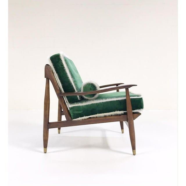 Forsyth Vintage Chair Attributed to Finn Juhl Restored in Green Silk Velvet With Cowhide Piping - Image 2 of 10