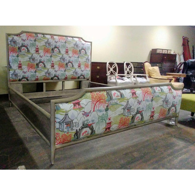 Gray Henredon Furniture 1945 Collection Catherine Grey Makore Queen Panel Bed with Chinoiserie Fabric For Sale - Image 8 of 12
