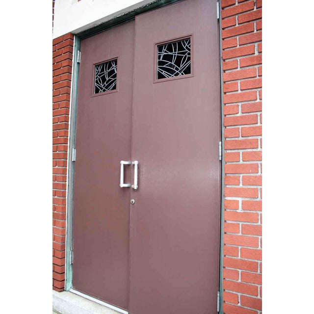 Ribbed Aluminum Clad Entry Doors A Pair Chairish
