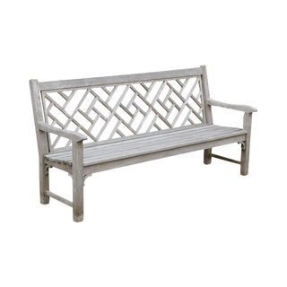 Country Casual Solid Teak Chinese Chippendale Outdoor Long Bench For Sale