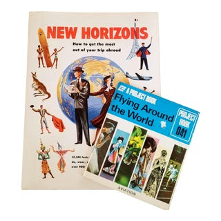 Mid Century Pan Am New Horizons Travel Flying Books - a Pair For Sale
