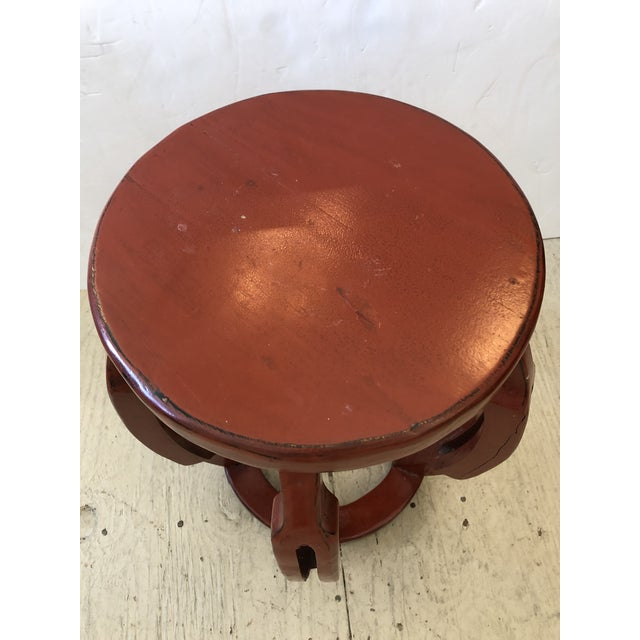 Chinese Red Chinese Carved Wood Garden Seat Side Table For Sale - Image 3 of 8