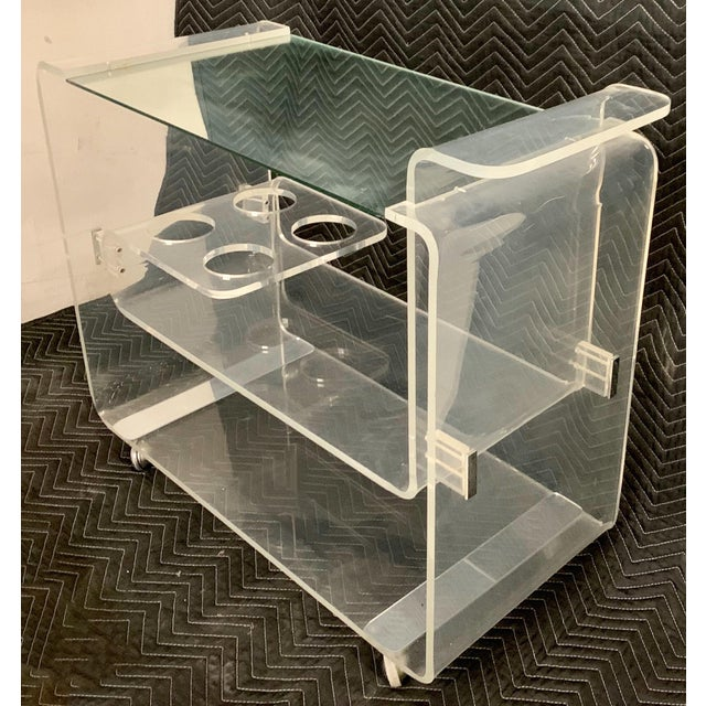 Mid-Century Modern Lucite Bar Cart Att. To Lion in Frost For Sale - Image 3 of 7