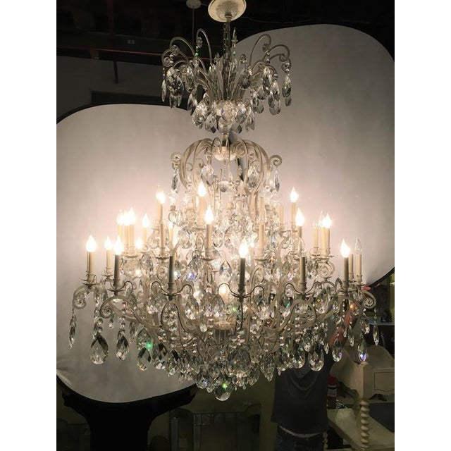 Metal Monumental German Schonbek Painted Brass and Crystal Chandelier For Sale - Image 7 of 11