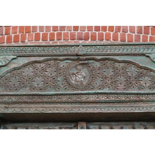 Great Imposing Krishna Painted Indian Door For Sale - Image 4 of 8