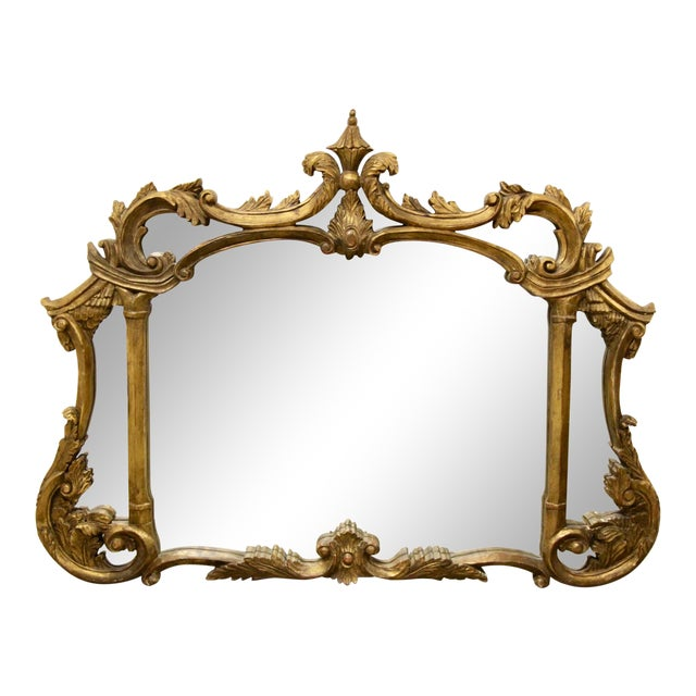 Italian Carved Giltwood Mirror For Sale