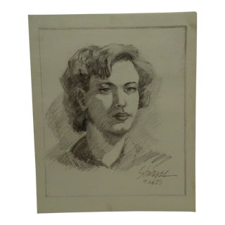 "1950s Mid-Century Modern Original Drawing on Paper, ""Lips"" by Tom Sturges Jr For Sale"