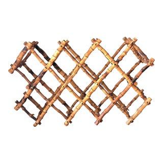 Vintage Burnt Bamboo Wine Rack For Sale