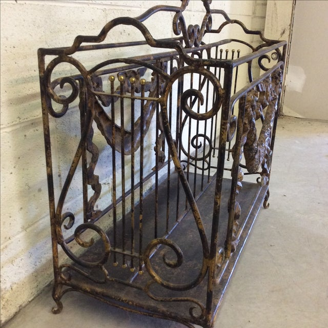 Ornate Lyre Iron Magazine Rack - Image 6 of 9