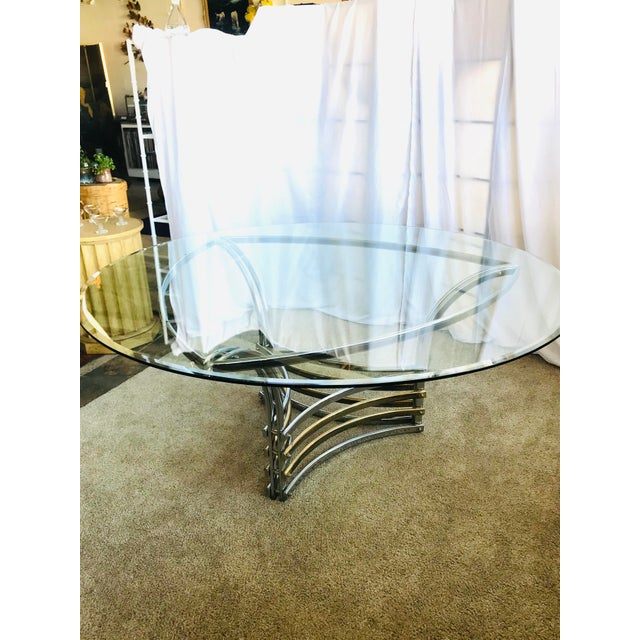 Silver 1980s Round Glass & Chrome/Brass Triangular Shape Dining Table For Sale - Image 8 of 13