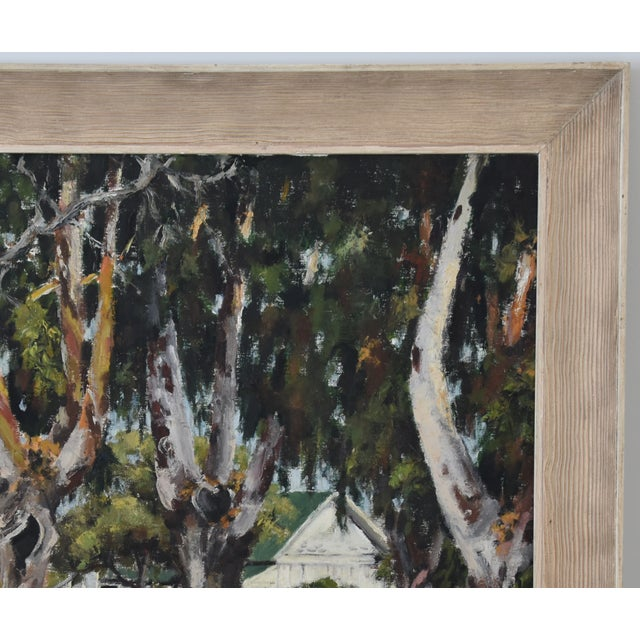 Mid 20th Century 1950s Dorothy Neal, Cottage and Grove of Trees Landscape Oil Painting For Sale - Image 5 of 11