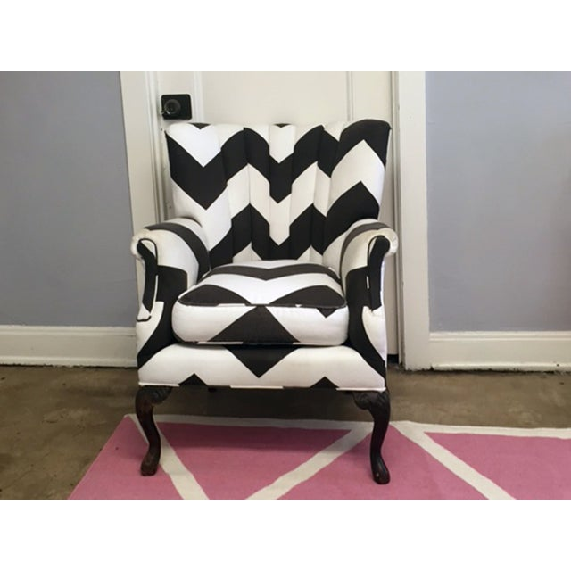 Vintage Umber & White Channeled Chair - Image 3 of 3