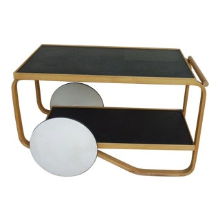 1960s Danish Modern Alvar Alto Bentwood Tea Cart For Sale