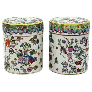 Chinese Export Porcelain Canisters, S/2 For Sale