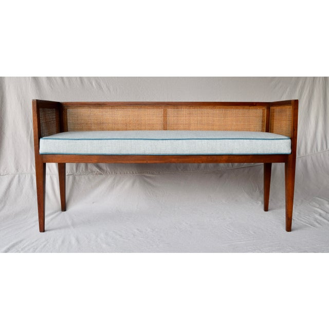 Mid-Century Modern 1950s Walnut Window Bench Attributed to Edward Wormley for Dunbar For Sale - Image 3 of 13