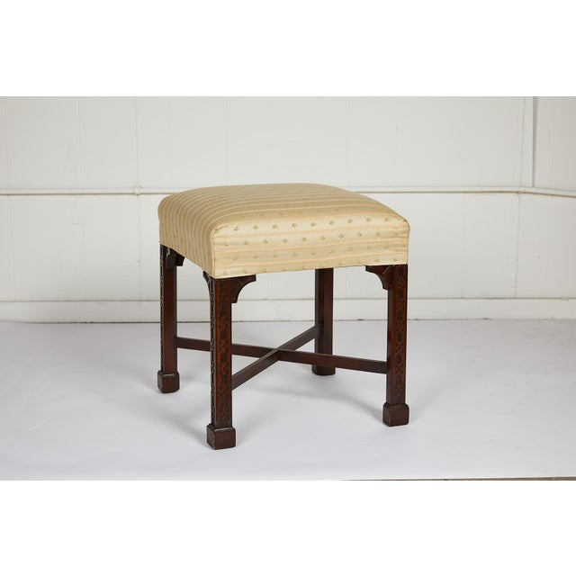 Chippendale English Chinese Chippendale Style Mahogany Stool For Sale - Image 3 of 13