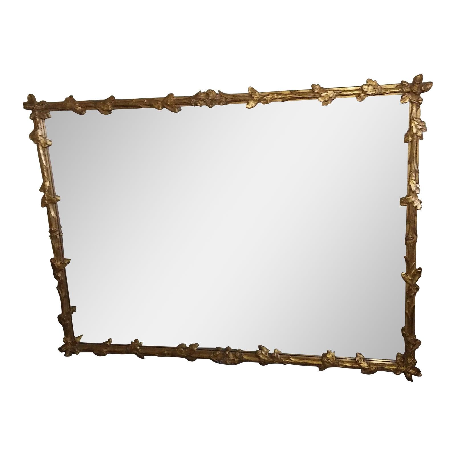 Friedman Brothers Large Gilt Framed Wall Mirror Oak Leaves &