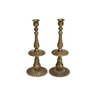 Large Traditional Brass Candlestick Holders, a Pair