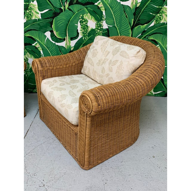 Mid-Century Modern Wicker Club Chairs in the Style of Michael Taylor - a Pair For Sale - Image 3 of 11