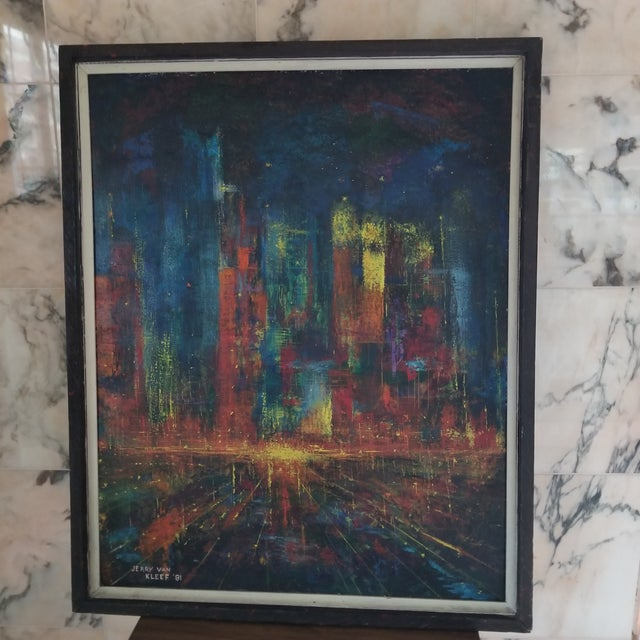 1980s Vintage Brutalist Stylized Cityscape Painting For Sale - Image 5 of 5