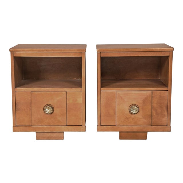 Maple Wood Nightstands - a Pair - Image 1 of 9