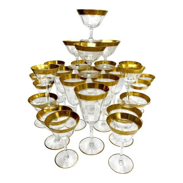 1930s Vintage Tiffin Franciscan Rambler Rose Crystal Stemware - Set of 26 For Sale