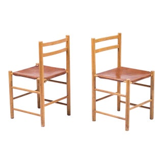 Pair of Minimalist Chairs in Maple and Leather For Sale