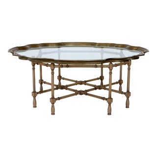 Faux Bamboo and Brass Baker Style Coffee Table For Sale