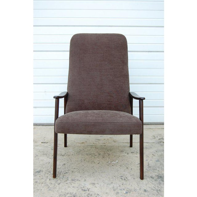 Vintage Swedish Modern Chenille Lounge Armchair For Sale - Image 5 of 9