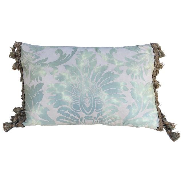 Sea Foam Green & Cream Fortuny Pillow For Sale