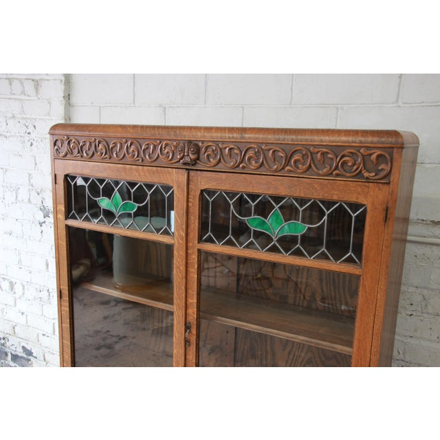 Antique Carved Oak Bookcase With Leaded Stained Glass Doors Circa