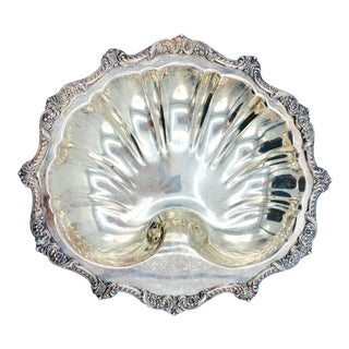 Large Antique Silver Plate Shell Footed Bowl For Sale
