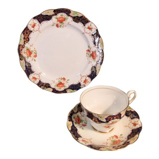 1890s Royal Standard Hand Painted Florals Gold & Cobalt China - Set of 3 For Sale