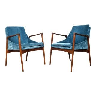 Ib Kofod-Larsen Danish Cerulean Velvet Armchairs - a Pair