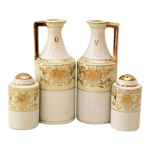 Art Deco Cruets & Salt and Pepper Shakers - 4 Pieces For Sale
