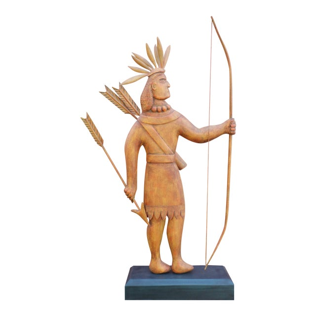 Contemporary Folk Art Carving of an Indian of Impressive Size For Sale