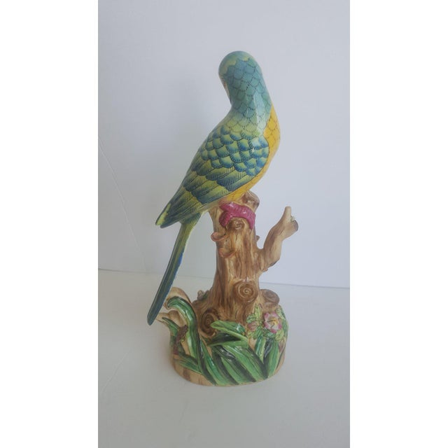 Blue Vintage Handpainted Chinese Porcelain Parrot For Sale - Image 8 of 10